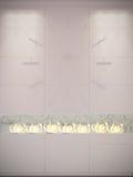 Rendu des horloges murales et des bio cheminées illustration stock