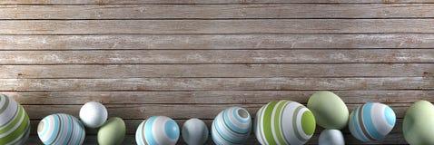Rendu des oeufs de pâques sur le fond en bois Image libre de droits