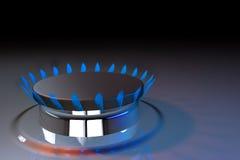 Rendu du butane 3d du feu de cuisinier de cuisine de flamme bleue de gaz Image stock