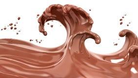 Rendu du chocolat 3d d'éclaboussure Photographie stock