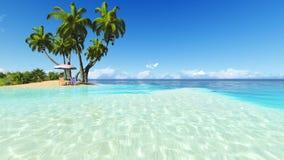 Rendu du ciel bleu 3D de plage et de recliner de paumes Photo stock