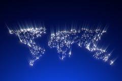 Rendu du concept 3d d'énergie globale de carte images libres de droits