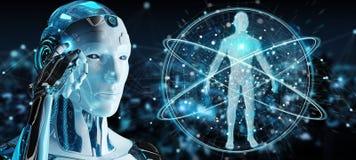 Rendu du corps humain 3D de balayage de robot d'homme blanc illustration libre de droits