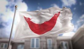 Rendu du drapeau 3D d'île de Pâques sur le fond de bâtiment de ciel bleu Image stock
