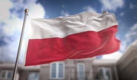 Rendu du drapeau 3D de la Pologne sur le fond de bâtiment de ciel bleu Photo stock