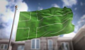 Rendu du drapeau 3D de Ladonia sur le fond de bâtiment de ciel bleu Image stock