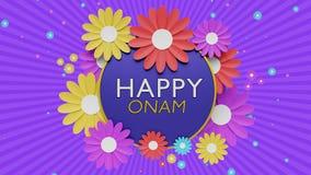 Rendu du fond 3d de salutations d'Onam Photos libres de droits