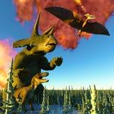 Rendu du jour du Jugement dernier 3d de dinosaure Images libres de droits