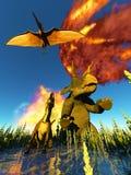 Rendu du jour du Jugement dernier 3d de dinosaure Photo libre de droits
