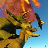 Rendu du jour du Jugement dernier 3d de dinosaure Photographie stock libre de droits