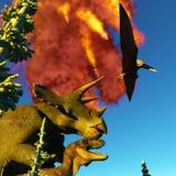 Rendu du jour du Jugement dernier 3d de dinosaure Photos libres de droits