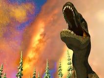 Rendu du jour du Jugement dernier 3d de dinosaure Image stock