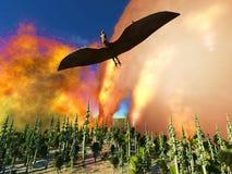 Rendu du jour du Jugement dernier 3d de dinosaure Images stock