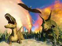 Rendu du jour du Jugement dernier 3d de dinosaure Image libre de droits