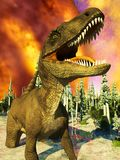 Rendu du jour du Jugement dernier 3d de dinosaure Photographie stock
