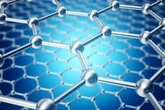 Rendu du plan rapproché géométrique hexagonal de forme de nanotechnologie abstraite, structure atomique de graphene de concept, m illustration libre de droits