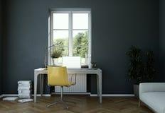 Rendu foncé de la conception intérieure 3d de siège social de mur de vintage Photos stock