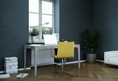 Rendu foncé de la conception intérieure 3d de siège social de mur de vintage Image libre de droits