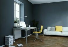 Rendu foncé de la conception intérieure 3d de siège social de mur de vintage Photographie stock libre de droits