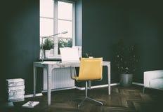 Rendu foncé de la conception intérieure 3d de siège social de mur de vintage Images libres de droits