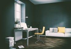Rendu foncé de la conception intérieure 3d de siège social de mur de vintage Photographie stock