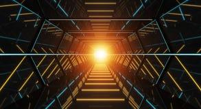 Rendu futuriste sombre du couloir 3D de vaisseau spatial Images stock