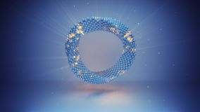 Rendu futuriste tordu de la science fiction 3D de cercle bleu illustration libre de droits
