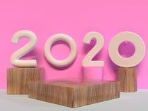 Rendu géométrique en bois de la scène 3d de mur de rose de type de la forme 2020/nombre des textes illustration de vecteur