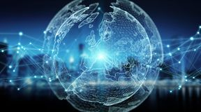 Rendu global de la vision du monde 3D de système de connexions Image libre de droits