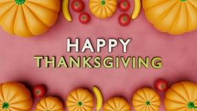 Rendu heureux des salutations 3d de thanksgiving Photographie stock libre de droits