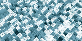 Rendu infini des icônes 3d de media social illustration stock
