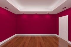 Rendu intérieur à la maison avec le mur vide de couleur de pièce Photographie stock libre de droits