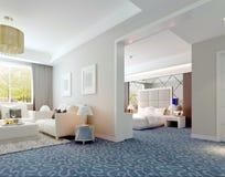 rendu intérieur de luxe de suite d'hôtel 3D Photos stock