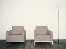 Rendu intérieur moderne du fauteuil 3d Images libres de droits