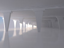 Rendu intérieur vide blanc abstrait du fond 3D Images libres de droits
