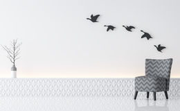 Rendu minimaliste intérieur de l'image 3d de style de salon blanc moderne Photographie stock