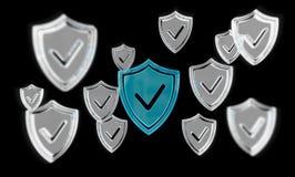 Rendu moderne de l'antivirus 3D de bouclier de données numériques Image libre de droits