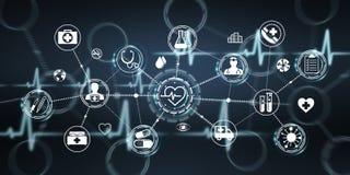 Rendu moderne de l'interface 3D de soins de santé Photographie stock