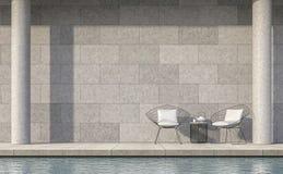 Rendu moderne de la terrasse 3d de piscine de style de grenier Image libre de droits