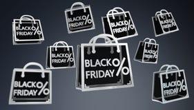Rendu numérique des icônes 3D de ventes de Black Friday Illustration de Vecteur