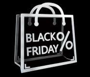 Rendu numérique des icônes 3D de ventes de Black Friday Illustration Stock