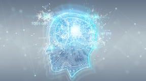 Rendu numérique du fond 3D de cerveau d'intelligence artificielle illustration stock