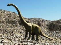 Rendu préhistorique jurassique de la scène 3d de dinosaures Image stock