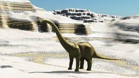 Rendu préhistorique jurassique de la scène 3d de dinosaures Images stock