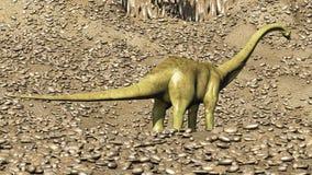 Rendu préhistorique jurassique de la scène 3d de dinosaures Photographie stock libre de droits