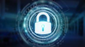 Rendu protecteur des données 3D d'interface de degré de sécurité de cadenas Image libre de droits