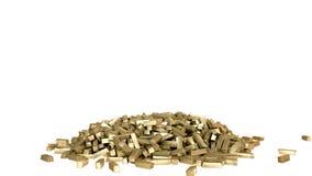Rendu réaliste des barres d'or 3D Isolat sur le blanc Images stock