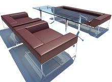 Rendu rouge du groupe 3D de sofa Images stock
