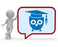 Rendu sage de la communication 3d d'Owl Means Speech Bubble And Photos libres de droits