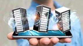 Rendu se reliant du centre de traitement des données 3D de pièce de serveurs d'homme d'affaires Photos stock